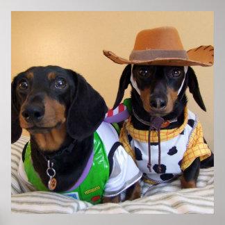 Poster Teckel drôle - cowboy de chien