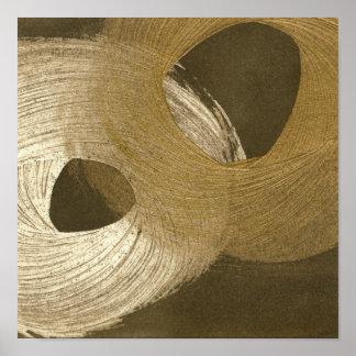 Poster Tempête de sable circulaire dans Brown bronzage et
