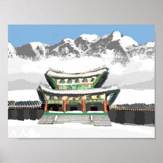 Poster temple coréen avec la montagne