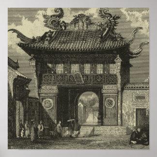 Poster Temple impérial asiatique dans noir et le blanc