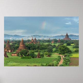Poster Temples dans Bagan, Myanmar