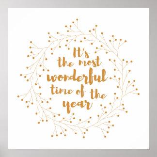 Poster Temps merveilleux de guirlande de Noël - d'or
