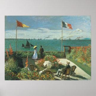 Poster Terrasse au bord de la mer par Claude Monet