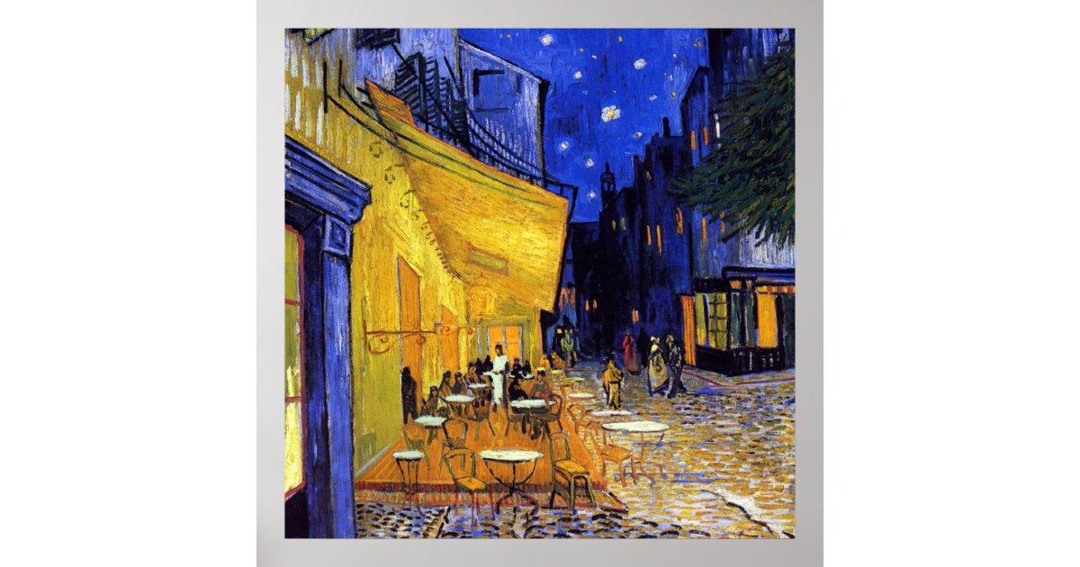 Poster Terrasse De Cafe La Nuit Par Vincent Van Gogh Zazzle Fr
