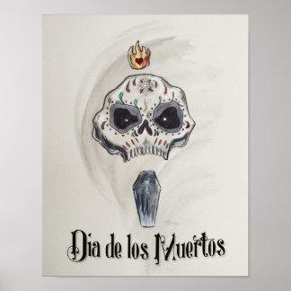 Poster Tête de Dia de los Muertos Skull