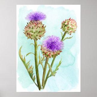 Poster Tête de fleur d'artichaut d'aquarelle