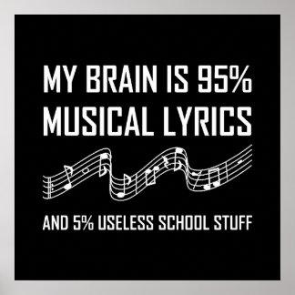 Poster Textes musicaux de cerveau drôles