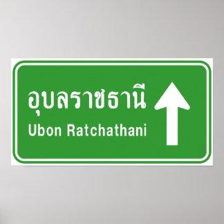 Poster ⚠ thaïlandais de poteau de signalisation de ⚠