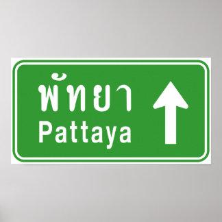 Poster ⚠ thaïlandais de poteau de signalisation de route
