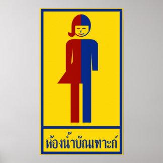 Poster ⚠ thaïlandais de signe de ⚠ de toilette de