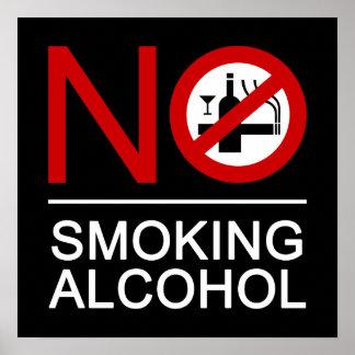 Poster ⚠ thaïlandais de signe de ⚠ non-fumeurs d'alcool