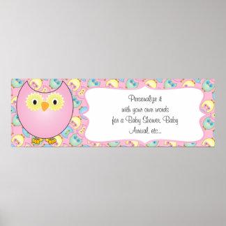 Poster Thème de baby shower de hibou de rose en pastel