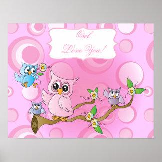 Poster Thème rose de crèche du hibou | de bébé