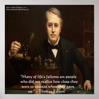 """Poster Thomas Edison affiche de citation de sagesse """"de"""