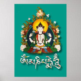 Poster Tibétain de bourdonnement de Bouddha Amitabha OM
