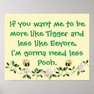 Poster Tigger drôle et peuh signe