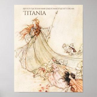 Poster Titania Arthur Rackham de songe d'une nuit d'été