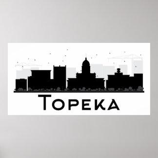 Poster Topeka, le Kansas horizon noir et blanc de | de