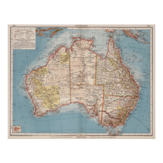 Poster Topographie australienne Map (1905)