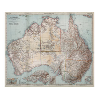 Poster Topographie australienne Map (1911)