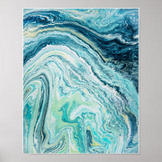 Poster Topographie de plage de la flaque #1 de couleur