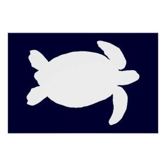 Poster Tortue de mer bleue et blanche
