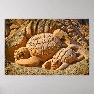 Poster Tortue de mer de sable