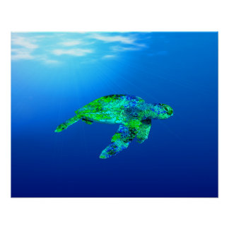Poster Tortue de mer sous-marine