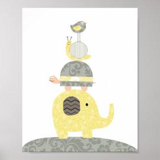 Poster Tortue d'oiseau d'éléphant d'illustration d'art de