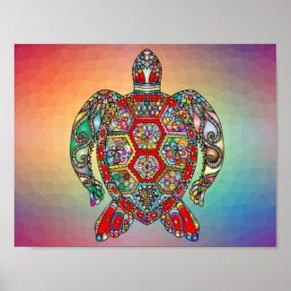 Poster Tortue géométrique multicolore