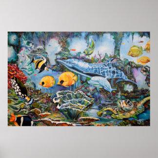 Poster Tortues colorées sous-marines/d'océan scène de
