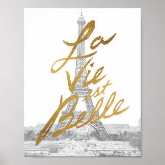 Poster Tour Eiffel avec l'écriture d'or