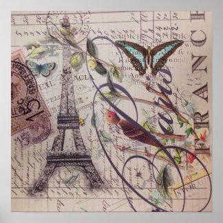 Poster Tour Eiffel français de Paris de papillon de pays