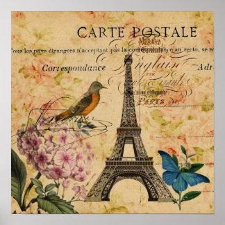 Poster Tour Eiffel français de Paris d'oiseau d'hortensia