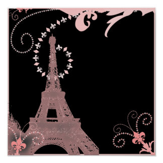Poster Tour Eiffel noir et rose chic girly de Paris