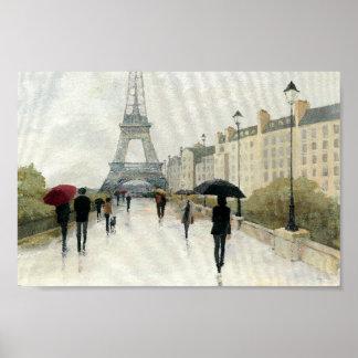 Poster Tour Eiffel   Paris sous la pluie