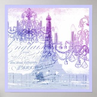 Poster Tour Eiffel pourpre français chic de Paris de