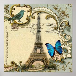 Poster Tour Eiffel vintage de Paris de remous de bleu de
