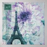 Poster Tour Eiffel vintage floral pourpre de Paris