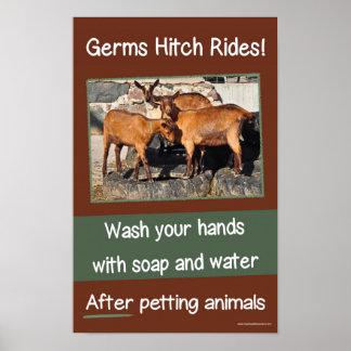 Poster Tours d'accroc de germes. Affiche de lavage des