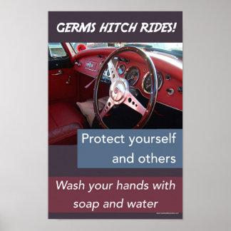 Poster Tours d'accroc de germes. Sécurité éducative de