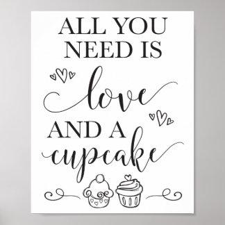 Poster Tout que vous avez besoin est amour et un signe de