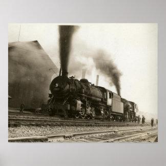 Poster Toute la copie à bord vintage de train