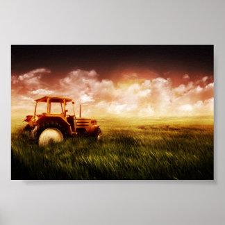 Poster tracteur en affiche de champ
