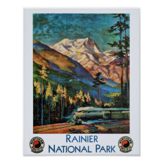 Poster Train vintage de parc national de mont Rainier