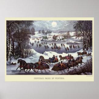 Poster Traîneaux vintages de Noël, Central Park en hiver