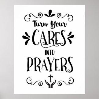 Poster Transformez vos soins en copie d'art de prières
