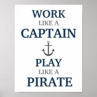 Poster Travail comme un capitaine Nautical Nursery Print
