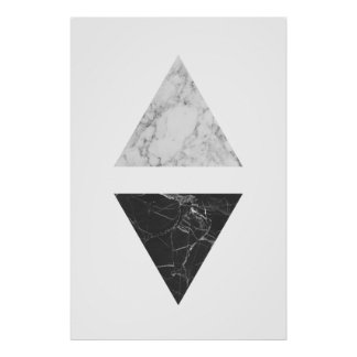 Poster Triangles de marbre noires et blanches