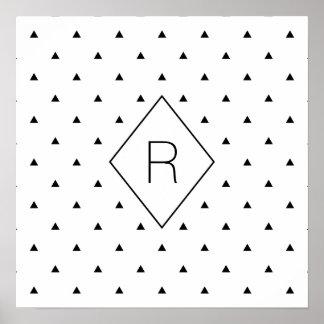 Poster Triangles géométriques blanches noires élégantes